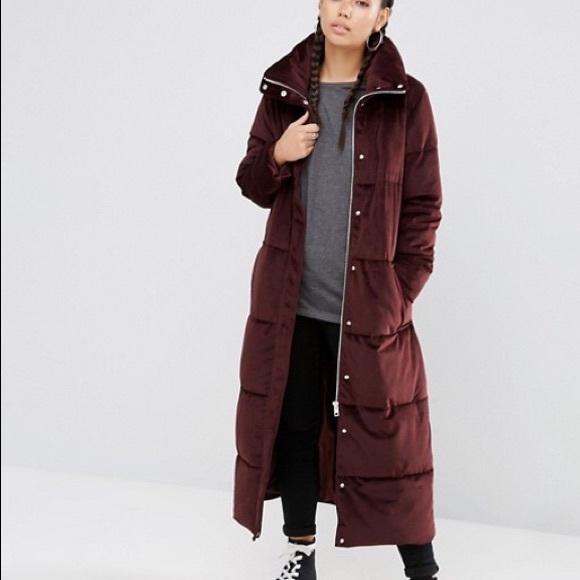 21c00b30b ASOS Luxe Velvet Burgundy Puffer Coat